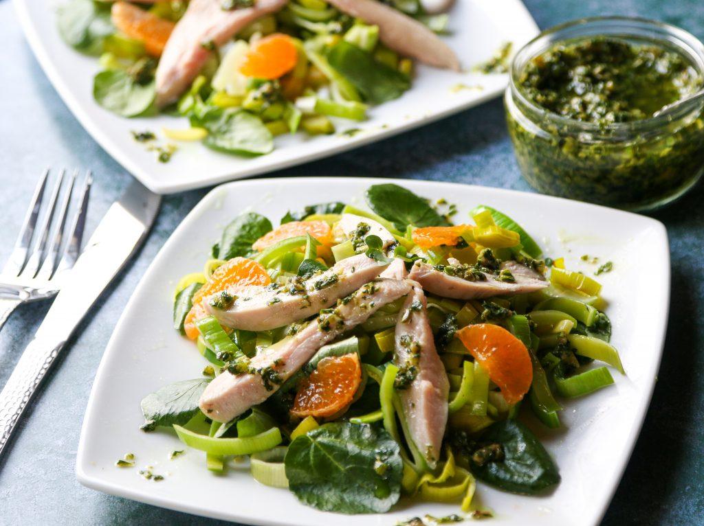 Partridge with Leek leaf salsa verde